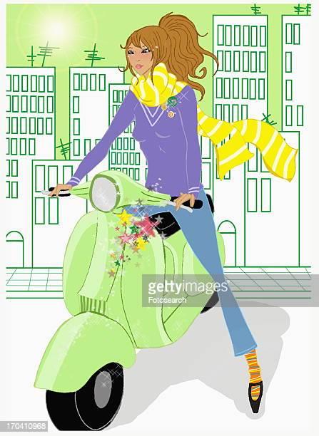 brunette driving light green scooter - moped stock illustrations, clip art, cartoons, & icons