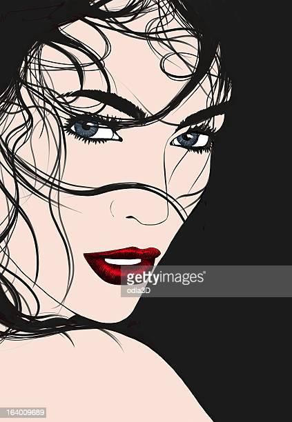ilustrações de stock, clip art, desenhos animados e ícones de rapariga brunette - mulher fatal