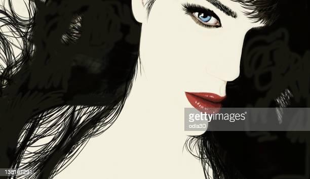 ilustrações de stock, clip art, desenhos animados e ícones de brunette - mulher fatal