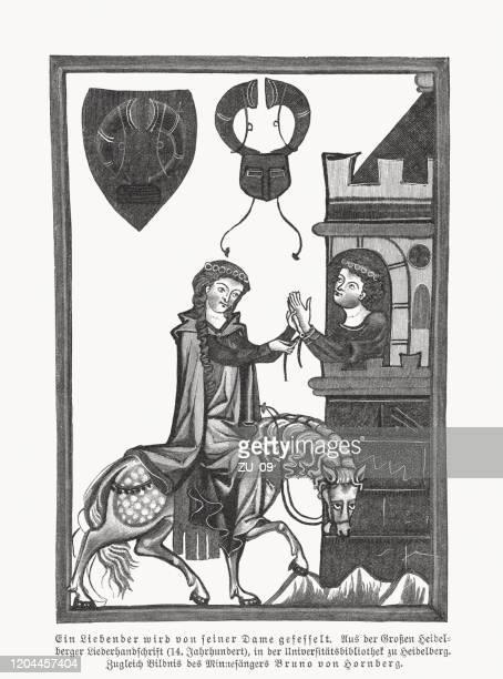 bruno von hornberg (codex manesse, ca. 1300), facsimile, woodcut, 1897 - circa 14th century stock illustrations