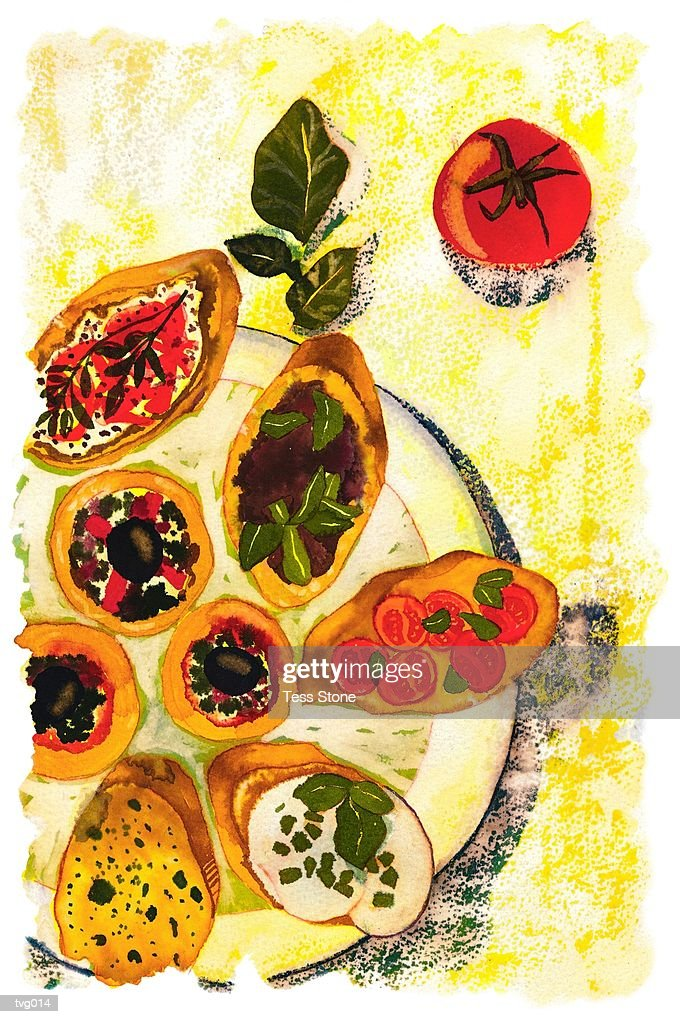 Bruschetta : Stockillustraties