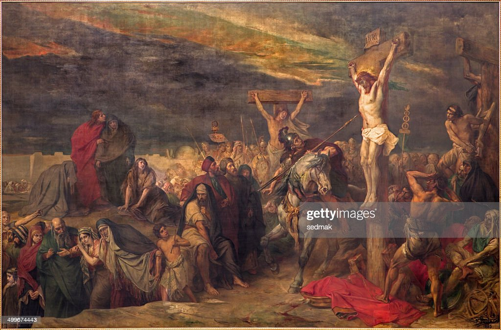 Brussels - The Crucifixion paint in st. Jacques church : stock illustration