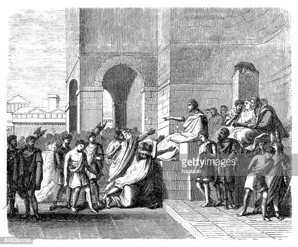 Brutus, Lucius Junius, Roman politician, Consul in 509 BC ,Iunius, founder of the Roman Republic, sitting on throne