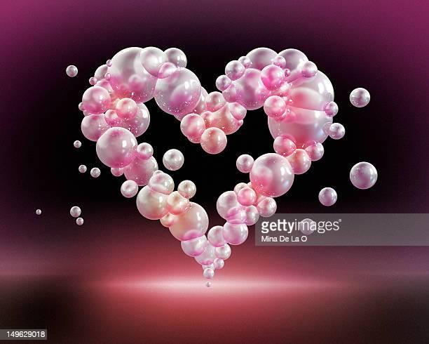 bubbles heart - digital composite stock illustrations