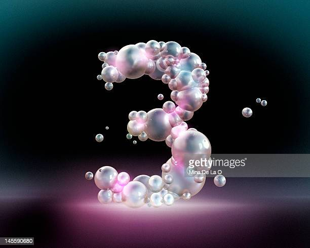 bubbles number 3 - image technique stock illustrations