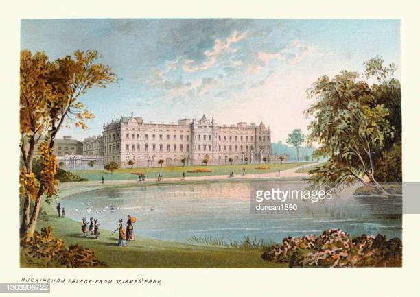 buckingham palace from st james' park, victorian london landmarks, 19th century - buckingham palace stock illustrations