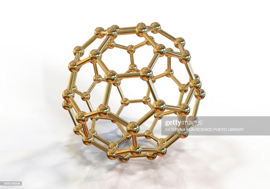 Buckyball nanoparticle, illustration : stock illustration