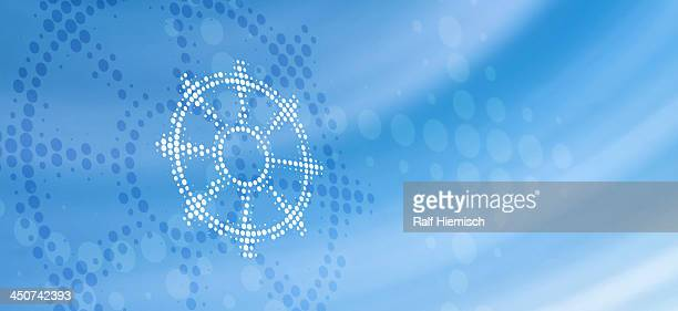 buddhist dharmacakra symbol (wheel of life) reflected on abstract surface - colour gradient stock illustrations