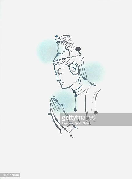 buddhist figure illustration - compassionate eye stock illustrations