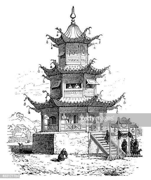 buddhist temple - pagoda stock illustrations, clip art, cartoons, & icons