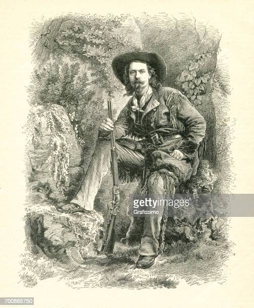 buffalo bill sitting with rifle in forest wild west 1877 - rifle stock illustrations, clip art, cartoons, & icons