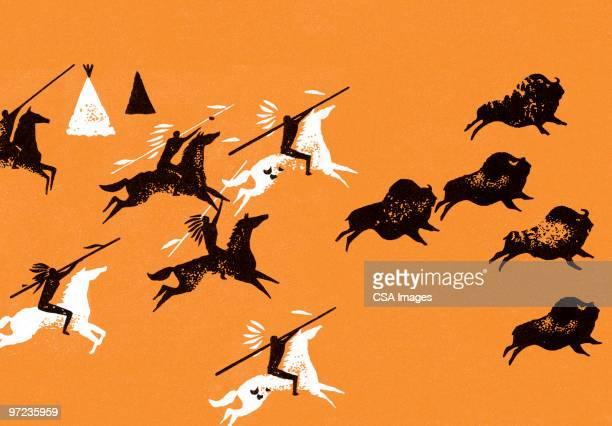 buffalo hunt - sport involving animals stock illustrations