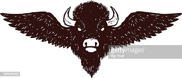 buffalo wings - african buffalo stock illustrations, clip art, cartoons, & icons