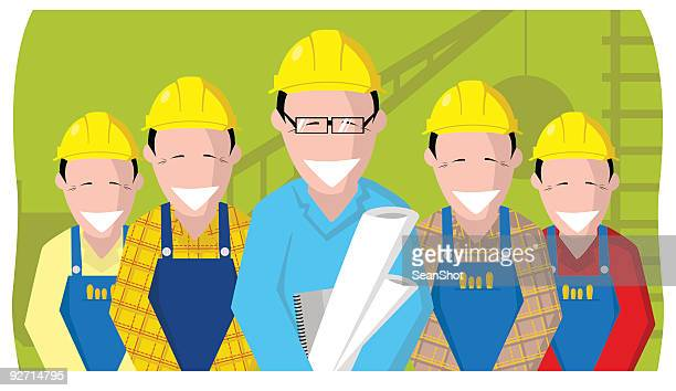 build teamwork - erection stock illustrations, clip art, cartoons, & icons