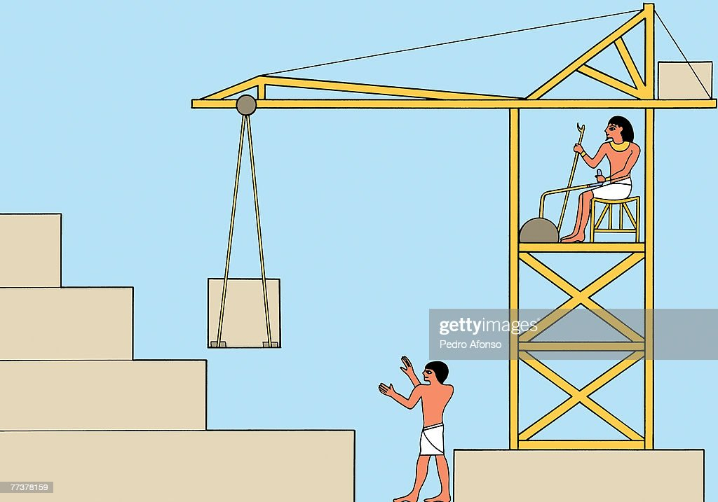 Builders building a pyramid with the help of a crane : Illustration