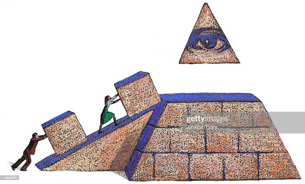 Building a Pyramid : Stock Illustration