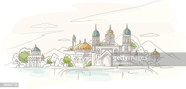 building at the riverside - spire stock illustrations, clip art, cartoons, & icons