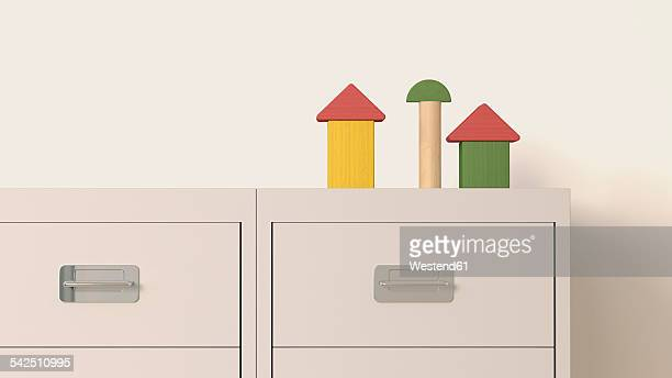 building blocks arranged on cabinet - filing cabinet stock illustrations, clip art, cartoons, & icons