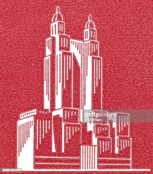 building illustration - tall high stock illustrations
