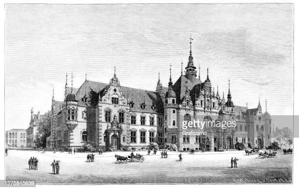 stockillustraties, clipart, cartoons en iconen met gebouw in leipzig saksen 1886 - leipzig saksen