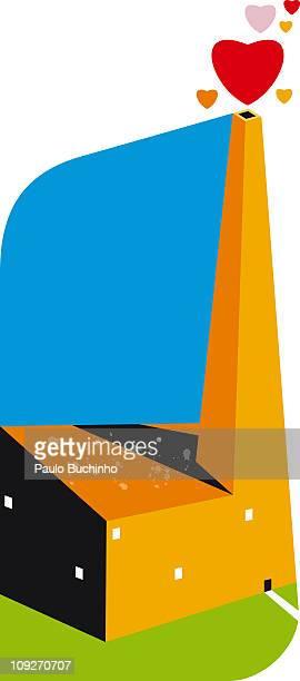 ilustrações de stock, clip art, desenhos animados e ícones de a building with a tall chimney with hearts coming out of it - buchinho
