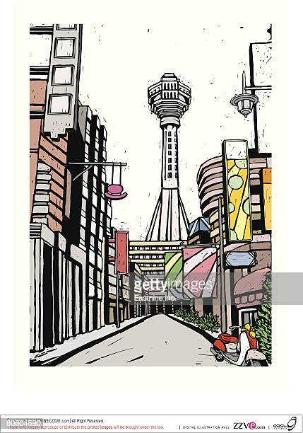 buildings along a street in a city - moped stock illustrations, clip art, cartoons, & icons
