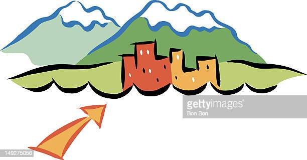 buildings and mountains - architectural feature stock illustrations, clip art, cartoons, & icons
