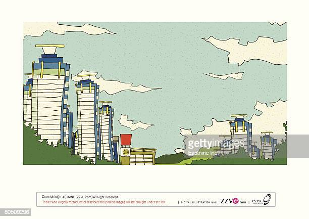 buildings by grass against cloudy sky - number of people stock illustrations, clip art, cartoons, & icons