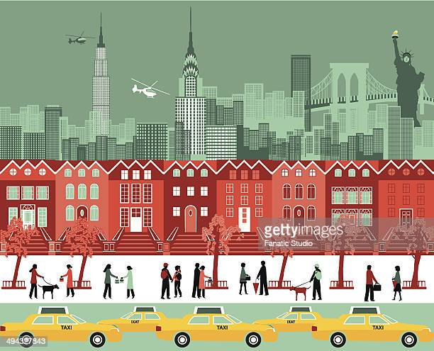 buildings in a city, new york city, new york state, usa - chrysler building stock illustrations, clip art, cartoons, & icons