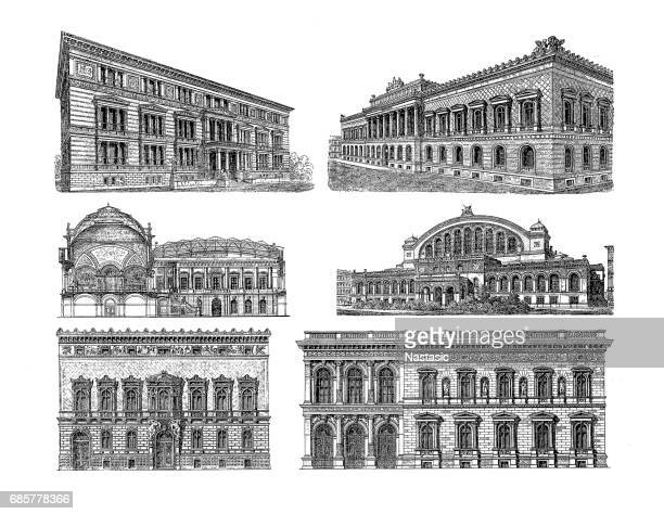 ilustraciones, imágenes clip art, dibujos animados e iconos de stock de edificios en berlín - monoimpresión