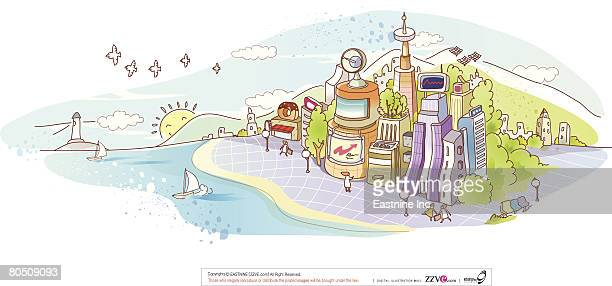 buildings in front of sea with sailboats against sky - spire stock illustrations, clip art, cartoons, & icons
