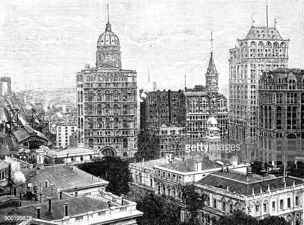 印刷ハウス広場のニューヨークの建物 - 1890~1899年点のイラスト素材/クリップアート素材/マンガ素材/アイコン素材