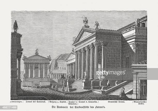 buildings of the roman forum in ancient rome, published in 1878 - roman forum stock illustrations