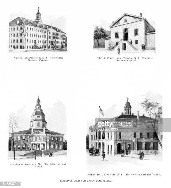 u.s. buildings of the united states which were used for congress, antique american photograph, 1900 - baltimore maryland stock illustrations, clip art, cartoons, & icons