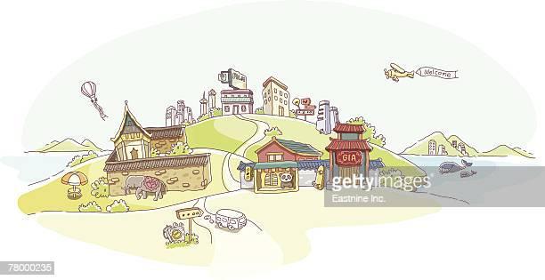 buildings on hills - ジンベエザメ点のイラスト素材/クリップアート素材/マンガ素材/アイコン素材