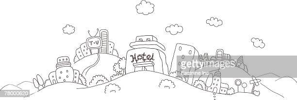 buildings on hills - television aerial stock illustrations, clip art, cartoons, & icons