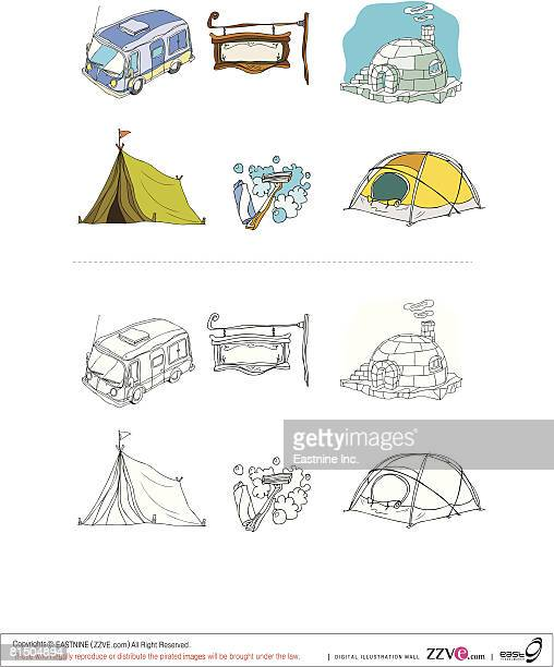 built structures and objects displayed against white background - razor blade stock illustrations, clip art, cartoons, & icons