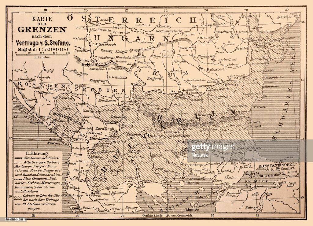 ブルガリアサンステファノ条約によると1878年3月 ストック ...
