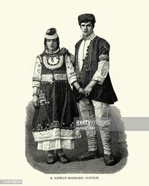 illustrazioni stock, clip art, cartoni animati e icone di tendenza di bulgarian newly married couplein traditional dress, 19th century - bulgaria