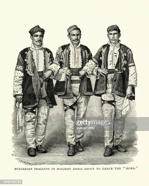 bulgarian peasants in holiday dress about to dance the hora - greek islands stock illustrations, clip art, cartoons, & icons