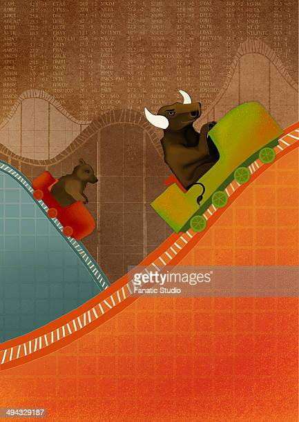 ilustraciones, imágenes clip art, dibujos animados e iconos de stock de bull and bear riding on roller coaster depicting the concept of ups and downs of stock market - charity benefit