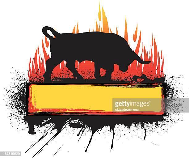 bull banner - bullfighter stock-grafiken, -clipart, -cartoons und -symbole