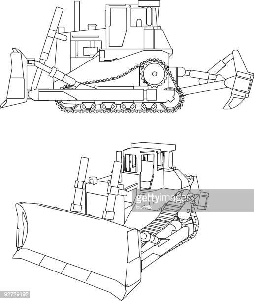 stockillustraties, clipart, cartoons en iconen met bulldozer, digger - constucion vehicle - draadmodel