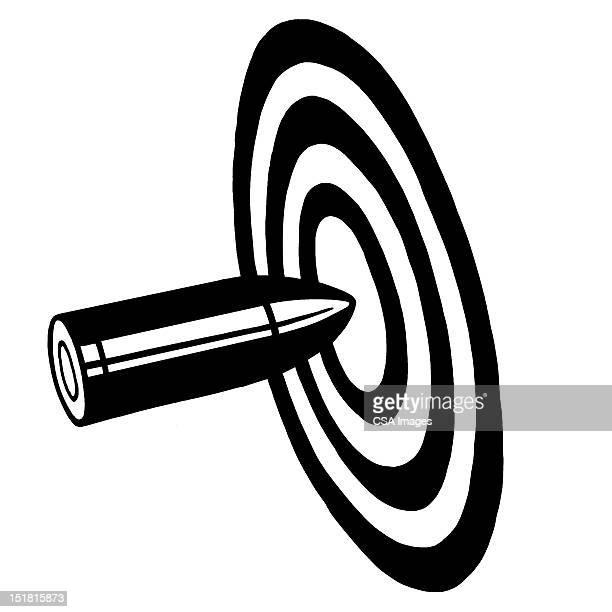 bullet hitting target bullseye - sports target stock illustrations
