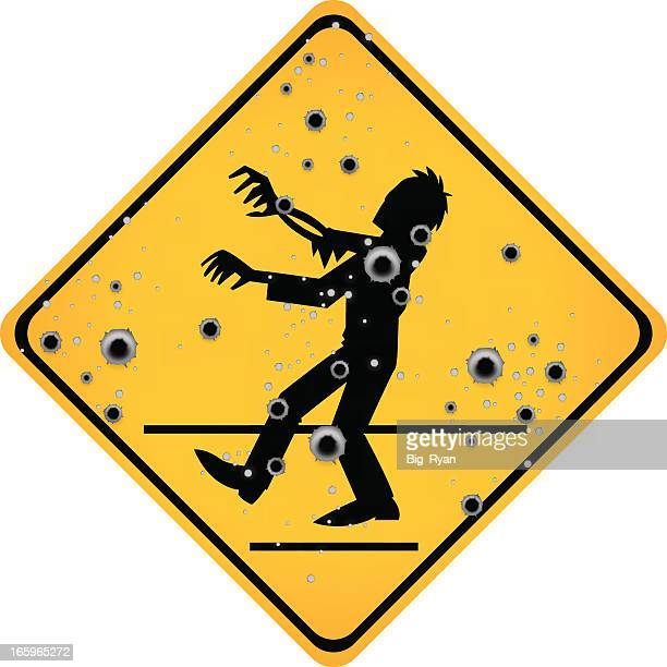 bullet hole zombie sign - judgment day apocalypse stock illustrations, clip art, cartoons, & icons