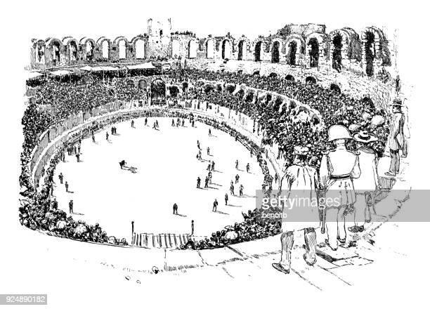 Bullfight in bullring in Provence