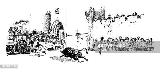 bullfight in bullring outside fort in provence - bullfighter stock illustrations, clip art, cartoons, & icons