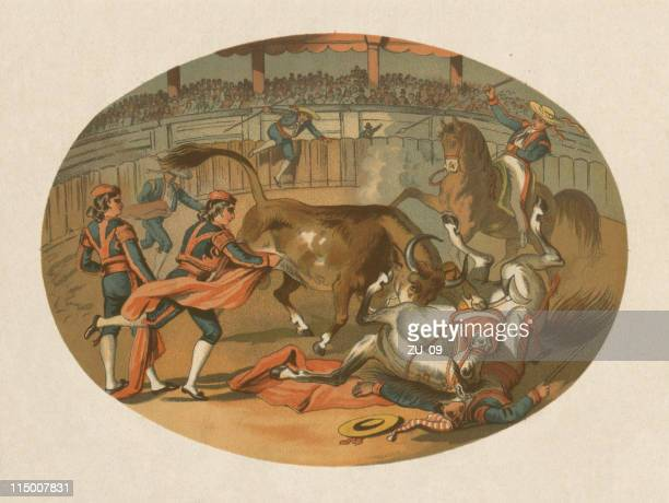 Bullfight in Spain, lithograph, published in 1872