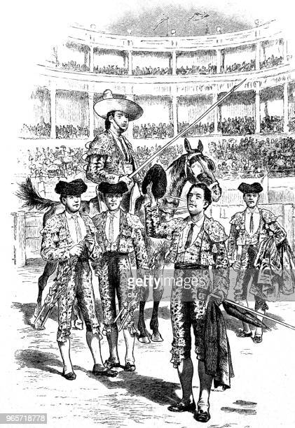 ilustraciones, imágenes clip art, dibujos animados e iconos de stock de corrida de toros en españa, presentación de los toreros - toreo