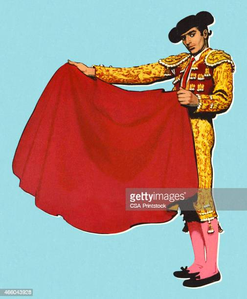 Bullfighter Holding a Red Cape